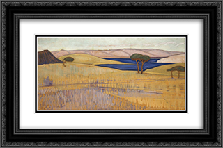 Lavrio Landscape 24x16 Black or Gold Ornate Framed and Double Matted Art Print by Constantine Maleas