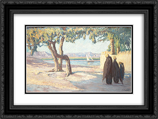 Nile Landscape 24x18 Black or Gold Ornate Framed and Double Matted Art Print by Constantine Maleas