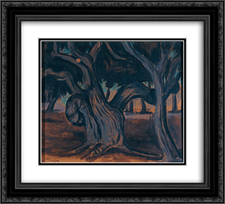 Olive trees 22x20 Black or Gold Ornate Framed and Double Matted Art Print by Constantine Maleas