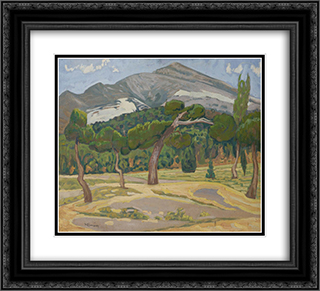 Penteli Landscape 22x20 Black or Gold Ornate Framed and Double Matted Art Print by Constantine Maleas