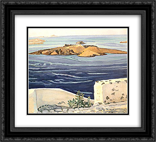 Santorini 22x20 Black or Gold Ornate Framed and Double Matted Art Print by Constantine Maleas