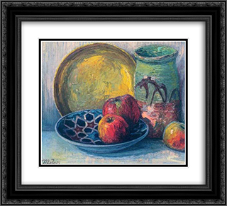 Still Life 22x20 Black or Gold Ornate Framed and Double Matted Art Print by Constantine Maleas