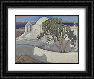 The Church of the Pantanassa, Naxos 24x20 Black or Gold Ornate Framed and Double Matted Art Print by Constantine Maleas