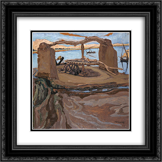 The Old Well 20x20 Black or Gold Ornate Framed and Double Matted Art Print by Constantine Maleas