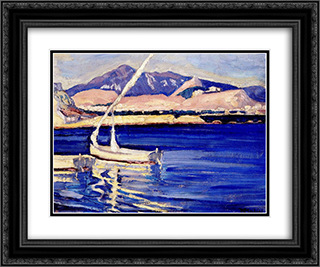 Turkish Harbour 24x20 Black or Gold Ornate Framed and Double Matted Art Print by Constantine Maleas