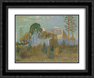 View of Acropolis 24x20 Black or Gold Ornate Framed and Double Matted Art Print by Constantine Maleas