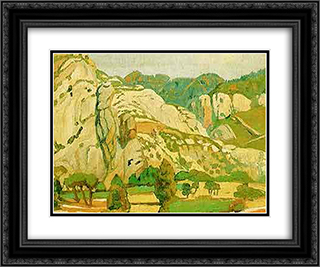 View of Kalavryta 24x20 Black or Gold Ornate Framed and Double Matted Art Print by Constantine Maleas