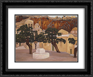 Walls of Monemvasia 24x20 Black or Gold Ornate Framed and Double Matted Art Print by Constantine Maleas