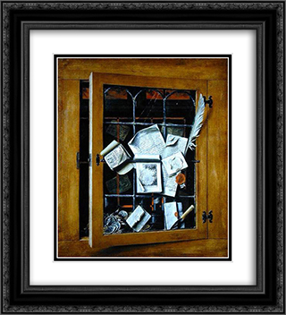 A trompe l'oeil of an open glazed cupboard door, with numerous papers and objects 20x22 Black or Gold Ornate Framed and Double Matted Art Print by Cornelis Norbertus Gysbrechts