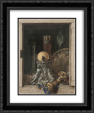 Silverware in an Open Cabinet 20x24 Black or Gold Ornate Framed and Double Matted Art Print by Cornelis Norbertus Gysbrechts