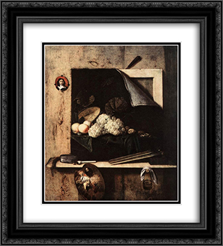 Still-Life with Self-Portrait 20x22 Black or Gold Ornate Framed and Double Matted Art Print by Cornelis Norbertus Gysbrechts