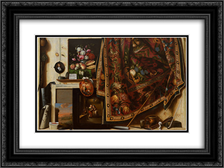 Trompe l'oeil. A Cabinet in the Artist's Studio 24x18 Black or Gold Ornate Framed and Double Matted Art Print by Cornelis Norbertus Gysbrechts