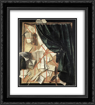 Trompe l'oeil 20x22 Black or Gold Ornate Framed and Double Matted Art Print by Cornelis Norbertus Gysbrechts