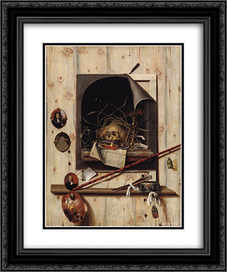 Trompe l'oeil with Studio Wall and Vanitas Still Life 20x24 Black or Gold Ornate Framed and Double Matted Art Print by Cornelis Norbertus Gysbrechts