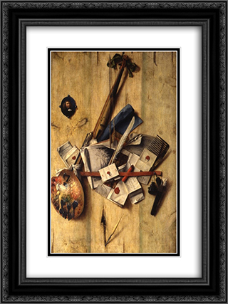 Trompe l'oeil with violin, painter's implements and self-portrait 18x24 Black or Gold Ornate Framed and Double Matted Art Print by Cornelis Norbertus Gysbrechts