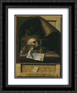 Vanitas 20x24 Black or Gold Ornate Framed and Double Matted Art Print by Cornelis Norbertus Gysbrechts
