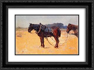 Work Horses 24x18 Black or Gold Ornate Framed and Double Matted Art Print by Cornelis Vreedenburgh
