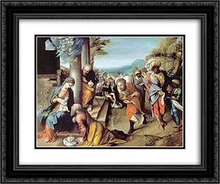 Adoration of the Magi  24x20 Black or Gold Ornate Framed and Double Matted Art Print by Correggio