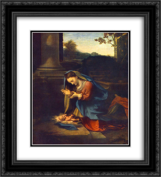 Adoration of the Child 20x22 Black or Gold Ornate Framed and Double Matted Art Print by Correggio