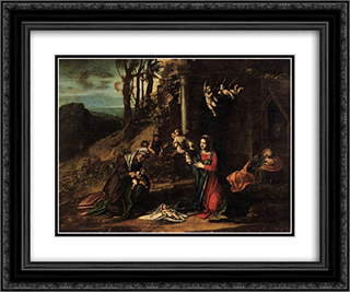 Adoration of the Christ Child 24x20 Black or Gold Ornate Framed and Double Matted Art Print by Correggio