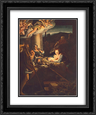Adoration of the Shepherds (The Holy Night) 20x24 Black or Gold Ornate Framed and Double Matted Art Print by Correggio