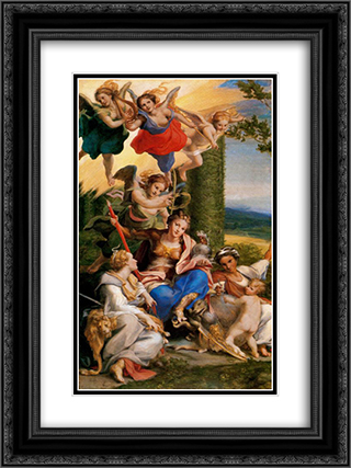 Allegory of the Virtues 18x24 Black or Gold Ornate Framed and Double Matted Art Print by Correggio