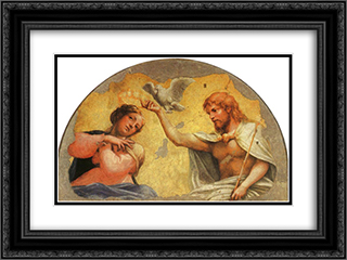 Coronation of the Virgin 24x18 Black or Gold Ornate Framed and Double Matted Art Print by Correggio