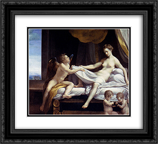 Danae 22x20 Black or Gold Ornate Framed and Double Matted Art Print by Correggio