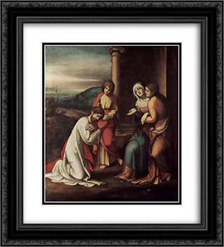 Departure of Christ from Mary, with Mary and Martha, the sisters of Lazarus 20x22 Black or Gold Ornate Framed and Double Matted Art Print by Correggio