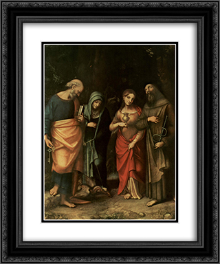 Four Saints (from left St. Peter, St. Martha, St. Mary Magdalene, St. Leonard) 20x24 Black or Gold Ornate Framed and Double Matted Art Print by Correggio