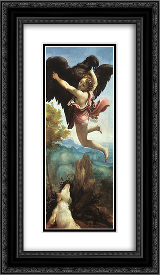 Ganymede 14x24 Black or Gold Ornate Framed and Double Matted Art Print by Correggio