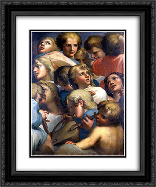 Group of angels from Correge 20x24 Black or Gold Ornate Framed and Double Matted Art Print by Correggio