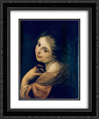 Half figure of a martyr 20x24 Black or Gold Ornate Framed and Double Matted Art Print by Correggio