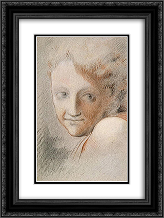 Head of an Angel 18x24 Black or Gold Ornate Framed and Double Matted Art Print by Correggio