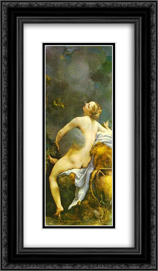 Jupiter and Io 14x24 Black or Gold Ornate Framed and Double Matted Art Print by Correggio