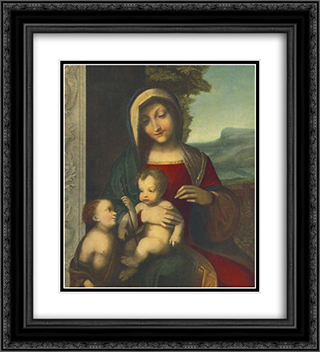 Madonna 20x22 Black or Gold Ornate Framed and Double Matted Art Print by Correggio