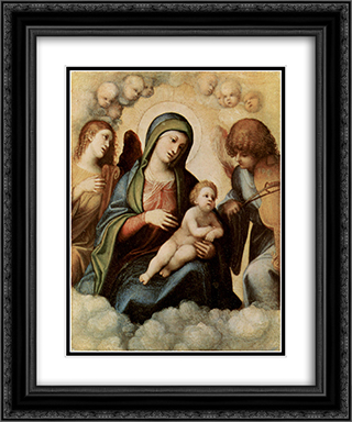 Madonna and Child with Angels 20x24 Black or Gold Ornate Framed and Double Matted Art Print by Correggio