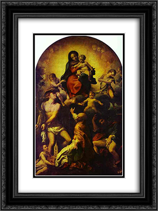 Madonna and Child with St. Sebastian 18x24 Black or Gold Ornate Framed and Double Matted Art Print by Correggio