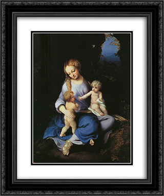 Madonna and Child with the Young Saint John 20x24 Black or Gold Ornate Framed and Double Matted Art Print by Correggio