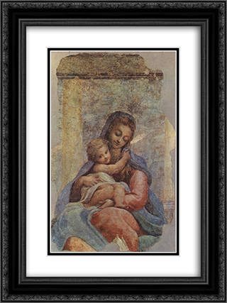 Madonna della Scala 18x24 Black or Gold Ornate Framed and Double Matted Art Print by Correggio