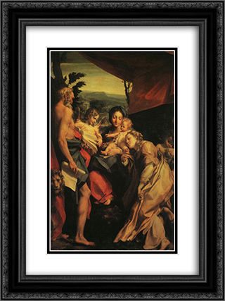 Madonna with St. Jerome (The Day) 18x24 Black or Gold Ornate Framed and Double Matted Art Print by Correggio