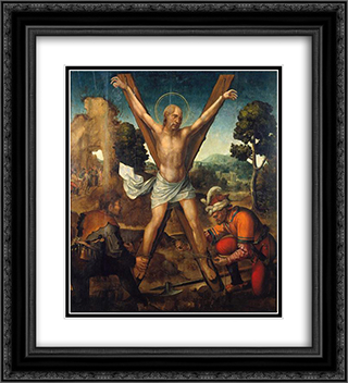 Mart­rio de Santo Andre 20x22 Black or Gold Ornate Framed and Double Matted Art Print by Cristovao de Figueiredo
