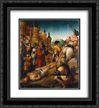 Mart­rio de Santo Hipolito 20x22 Black or Gold Ornate Framed and Double Matted Art Print by Cristovao de Figueiredo