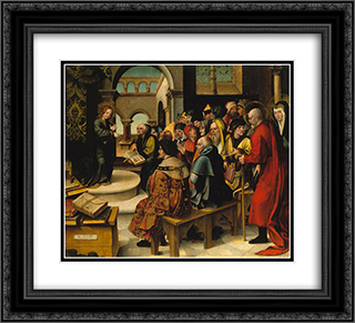 Menino Jesus entre os Doutores 22x20 Black or Gold Ornate Framed and Double Matted Art Print by Cristovao de Figueiredo