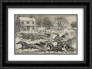 A brush for the lead 24x18 Black or Gold Ornate Framed and Double Matted Art Print by Currier and Ives