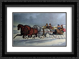 A Brush on the Snow 24x18 Black or Gold Ornate Framed and Double Matted Art Print by Currier and Ives