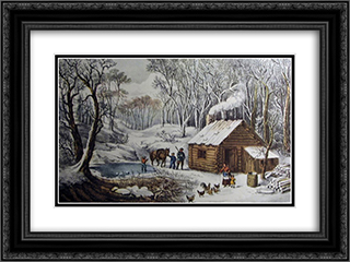 A Home in the Wilderness 24x18 Black or Gold Ornate Framed and Double Matted Art Print by Currier and Ives