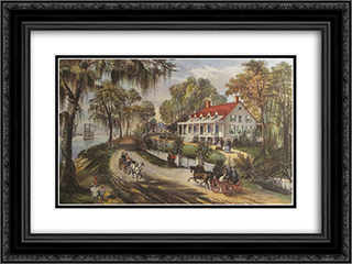 A Home on the Mississippi 24x18 Black or Gold Ornate Framed and Double Matted Art Print by Currier and Ives