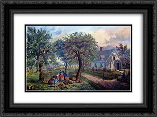 American Homestead Autumn 24x18 Black or Gold Ornate Framed and Double Matted Art Print by Currier and Ives