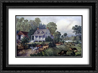 American Homestead Summer 24x18 Black or Gold Ornate Framed and Double Matted Art Print by Currier and Ives